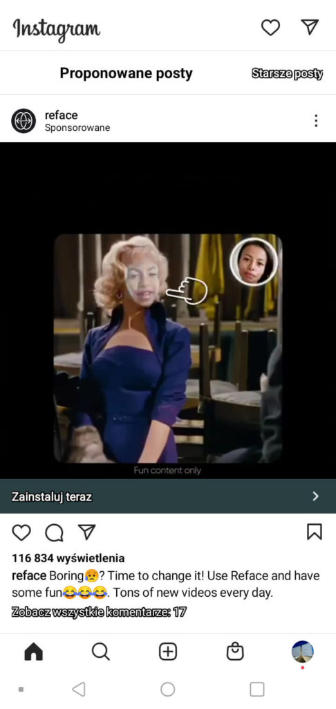 formaty video reklam na Instagram